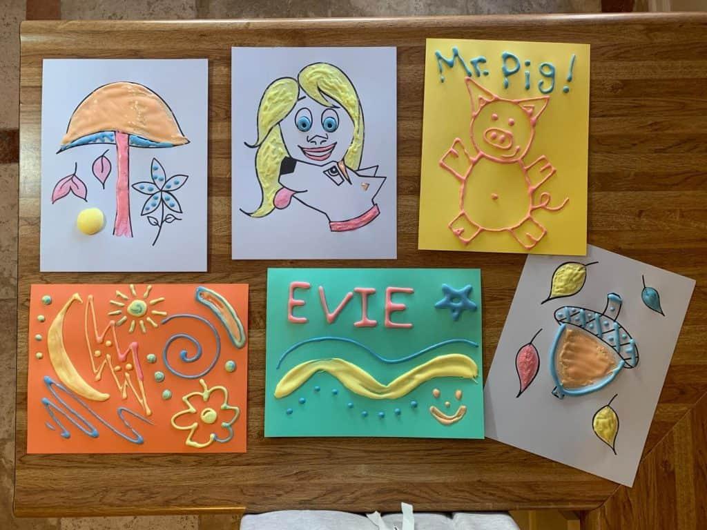 puffy paint finished process art