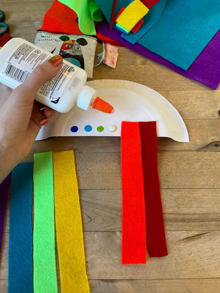 Rainbow Cloud Pre-K Craft with felt pieces