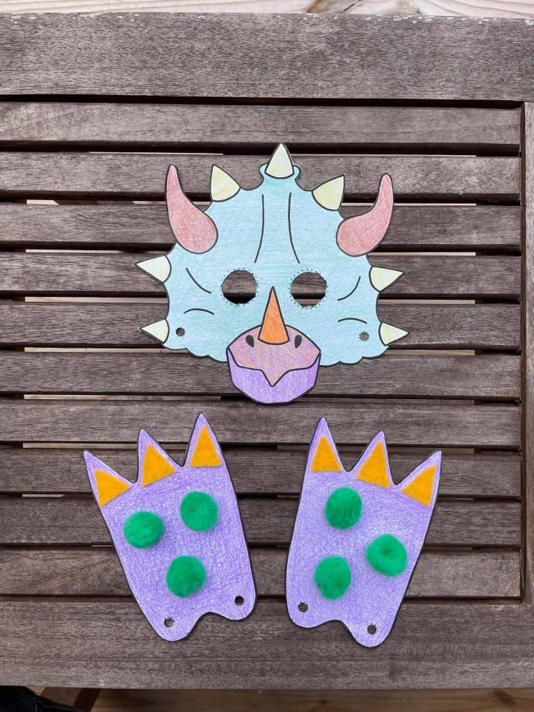dinosaur mask and feet for preschool