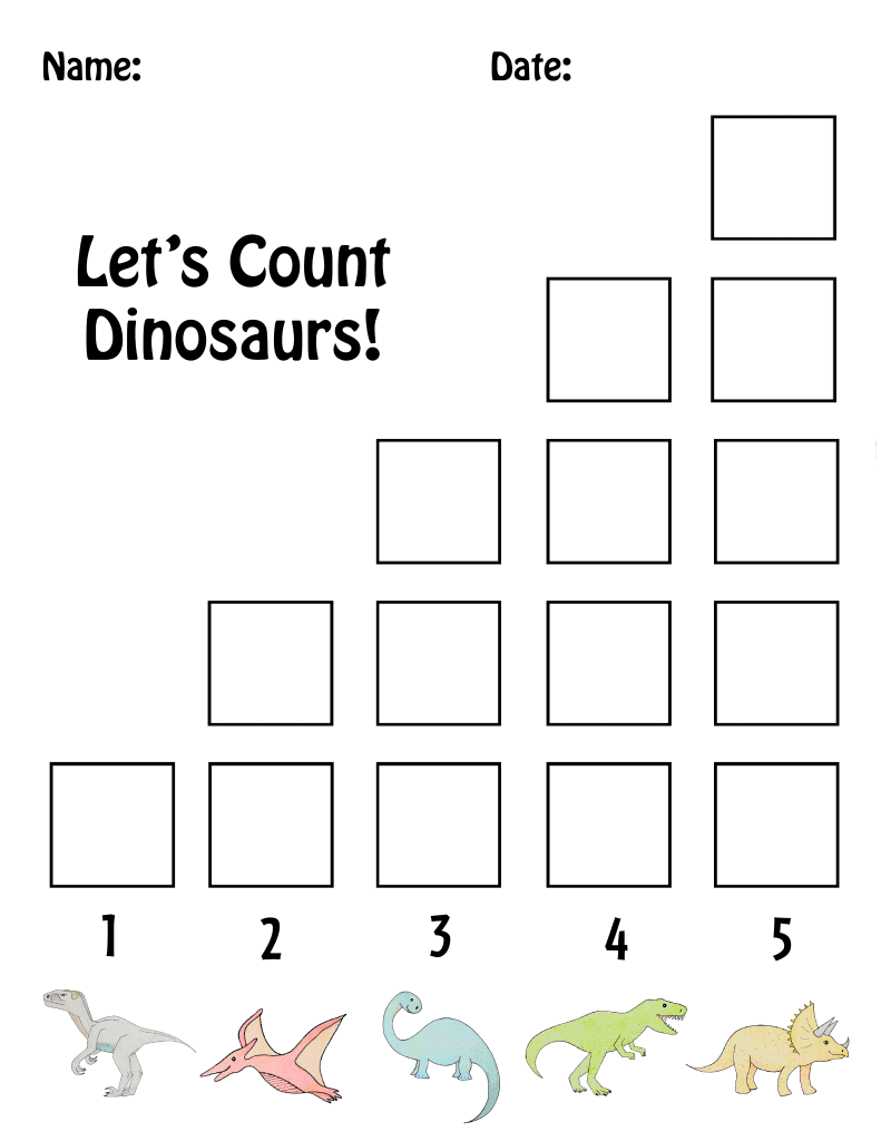 Preschool Dinosaur Counting Sheet