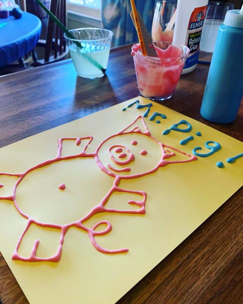 Puffy paint activity craft for pre-k from The Hollydog Blog.