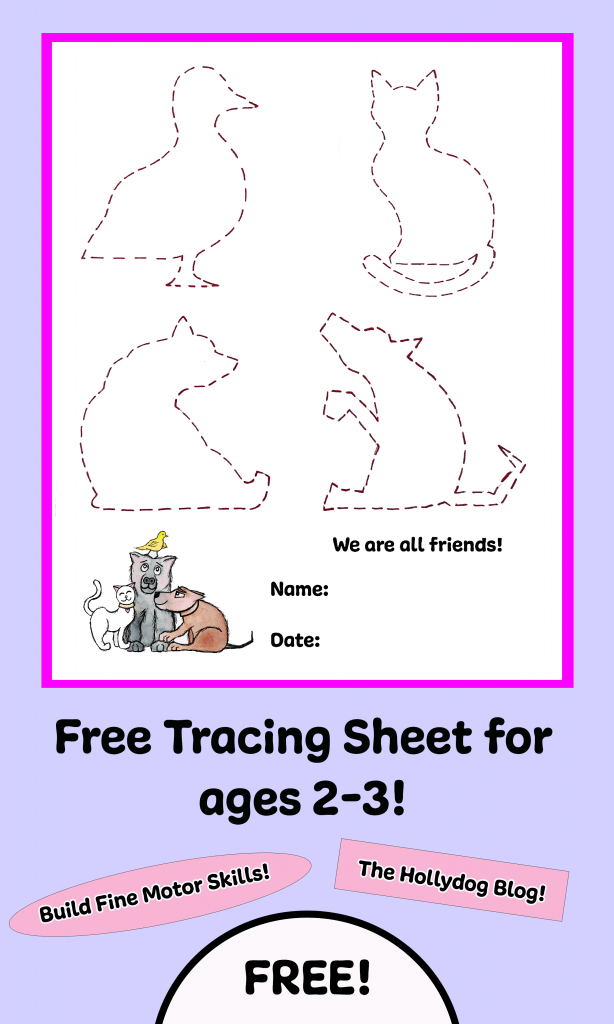 """We Are All Friends"", animal tracing sheet for pre-k."