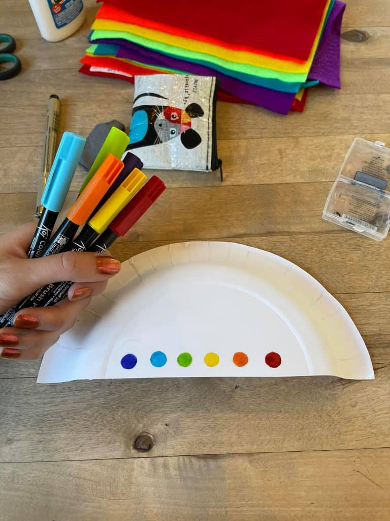 Rainbow Cloud Pre-K Craft with rainbow markers and paper plate