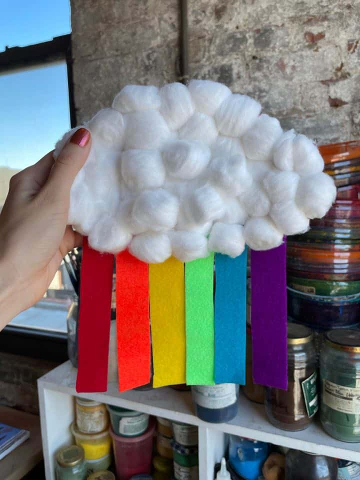 Rainbow Cloud Pre-K Finished Craft