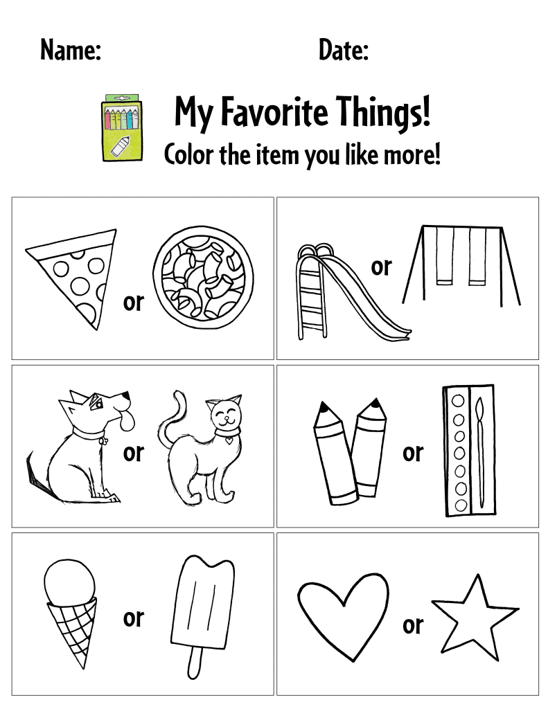 All About Me Preschool Printable